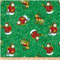 Winter Wonderland Metallic Tossed Snowman Green
