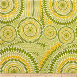 Rayon Jersey Knit Spirograph Lime/Yellow/Green