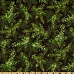 Holly Jolly Christmas Pine Sprigs Black