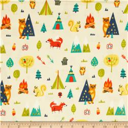 Happy Camper Flannel Camping Trip Cream Fabric