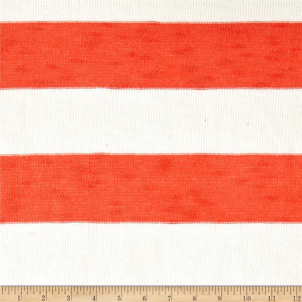 Lightweight Sweater Knit Large Orange Stripes on off White