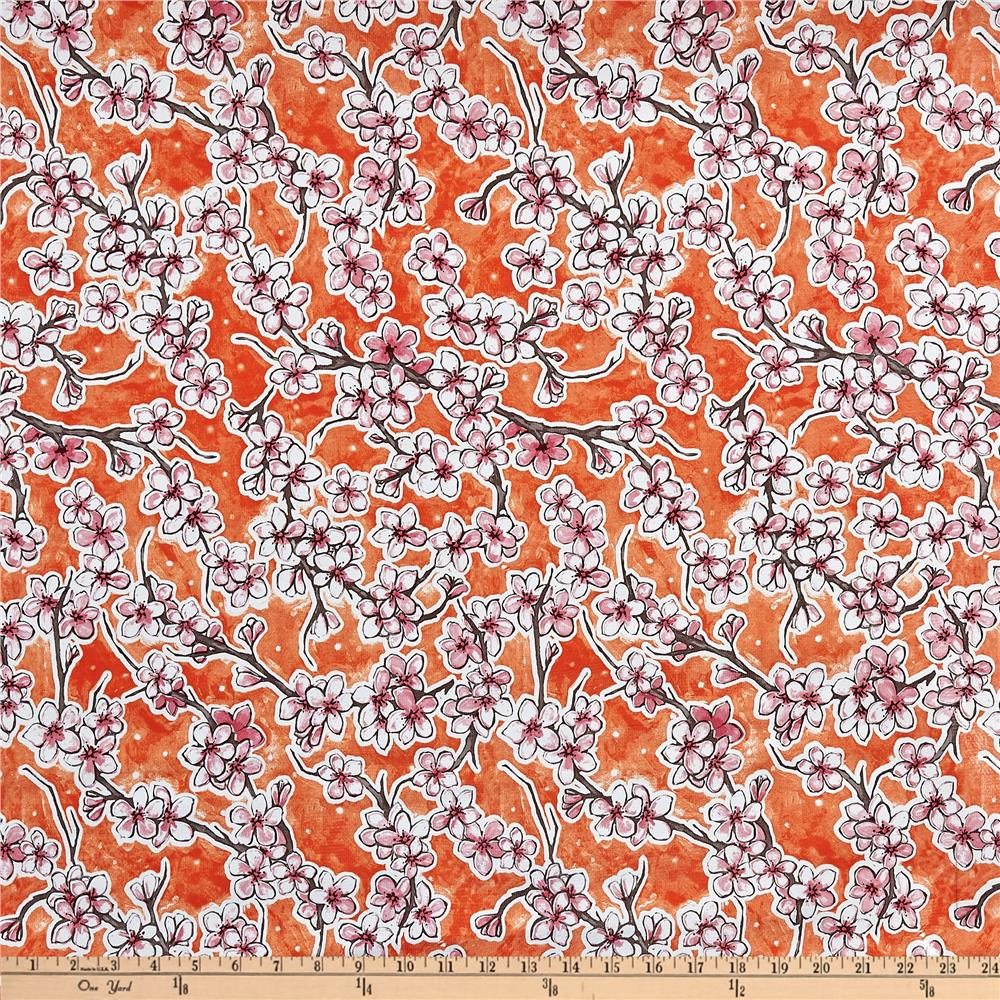 Oilcloth Fuji Floral Orange