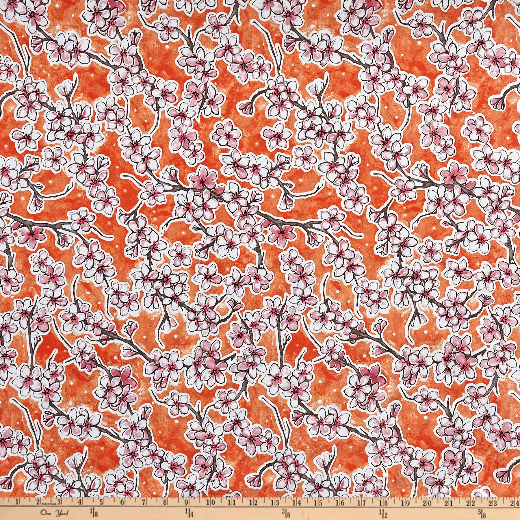 Oil Cloth Fuji Floral Orange Fabric