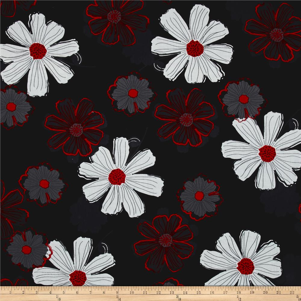 Cherry Pop Large Floral Black