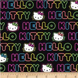 Hello Kitty Neon Expressions Word Stripe Black