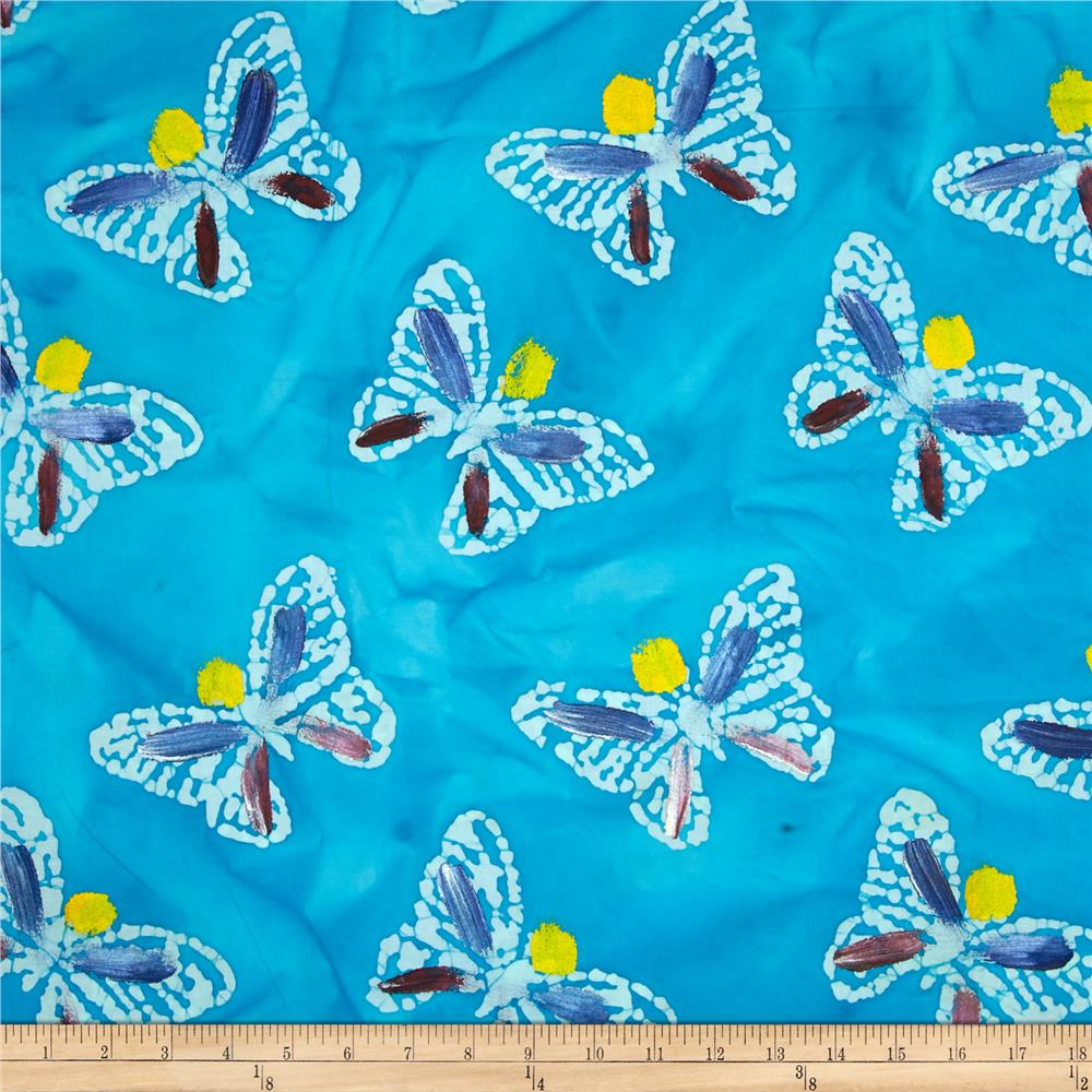 Indian Batik Hand Painted Butterfly Aqua