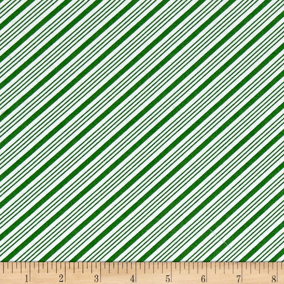 Frosty the Snowman Everyone's Fav Snowman Diagonal Stripe Green