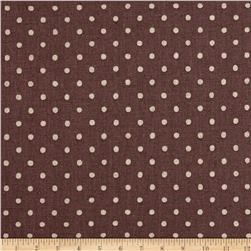 Kaufman Sevenberry Canvas Natural Dots Small Plum
