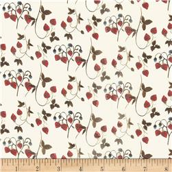 Liberty of London Regent Silk Chiffon Strawberry Fields Cream/Cherry