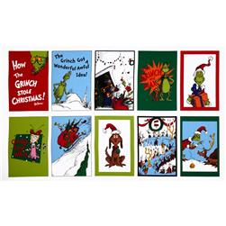 How The Grinch Stole Christmas Flannel Panel Celebration Red/Lime