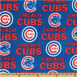 MLB Fleece Chicago Cubs Allover White/Red/Blue Fabric