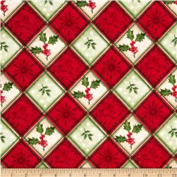 Christmas Flannel Holly Berrys Plaid Red/Green Fabric