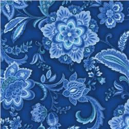 Timeless Treasures Vienna Floral Ornate Floral Navy