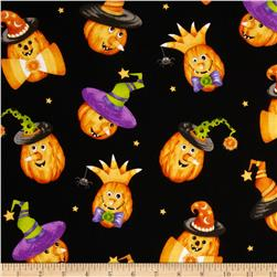 Happy Haunting Pumpkins Black Fabric