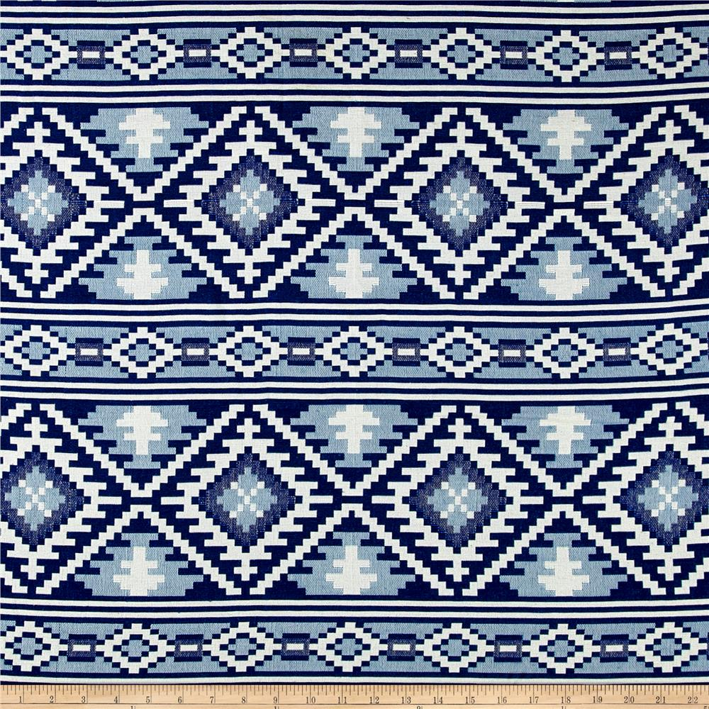 Laura & Kiran Saddle Blanket Doubleweave Jacquard Blue/White Fabric