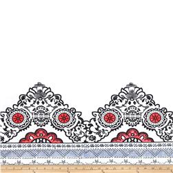 Embroidered Lawn Mosaic Border White/Red/Black