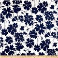 Telio Bloom Stretch Cotton Sateen Flower Print Cream/Navy