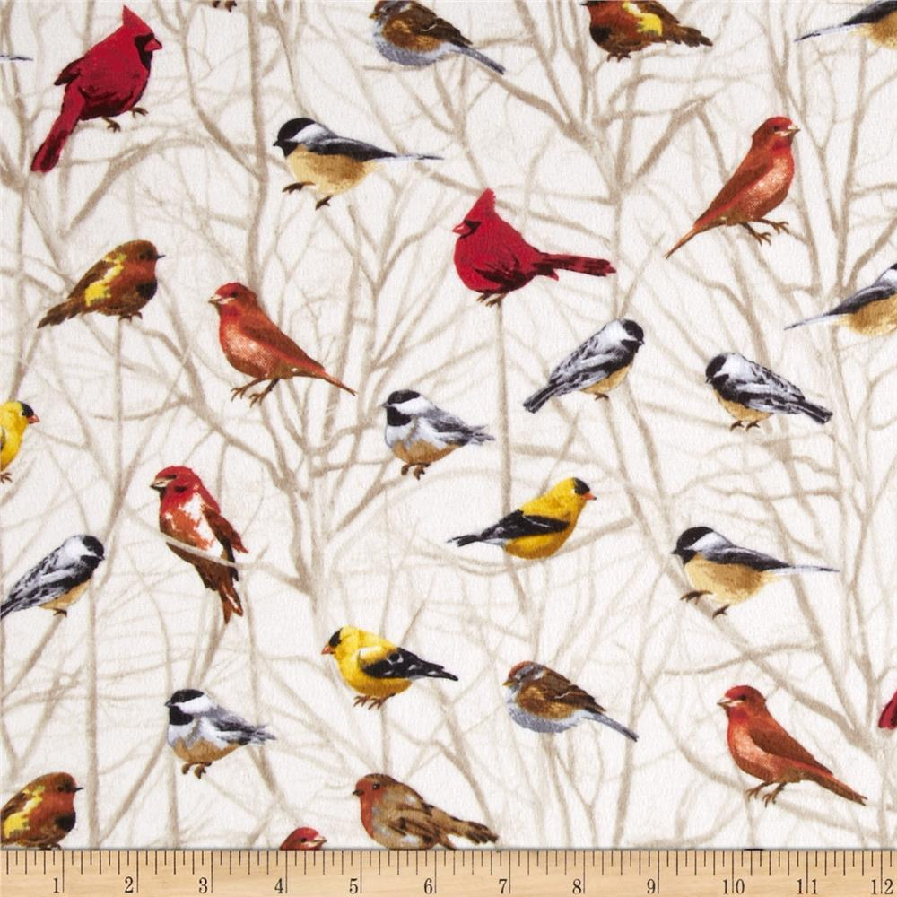 Timeless Treasures Cabin Flannel Birds on Branches Cream