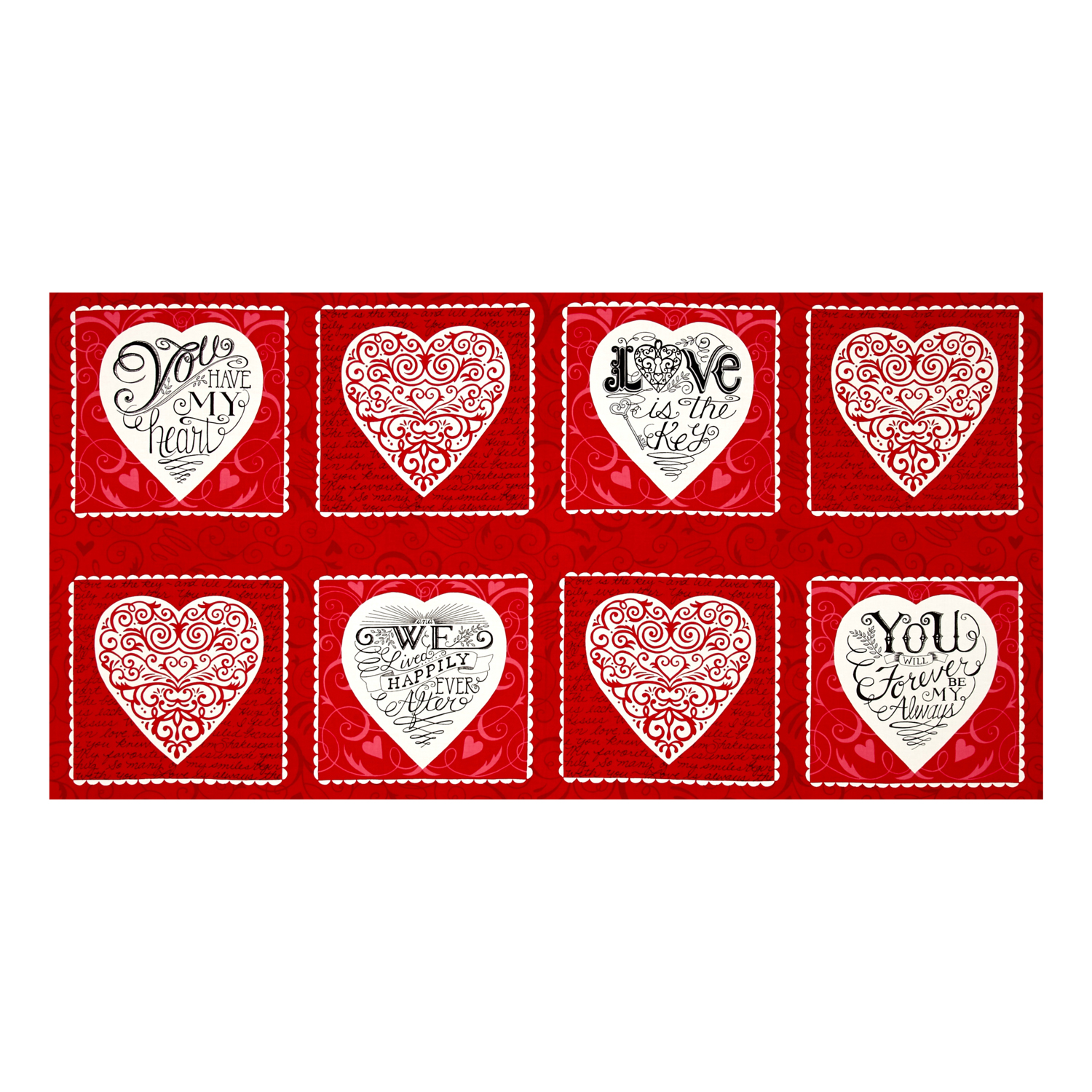 """Moda Ever After 23"""" Panel Romantic Red Fabric"""