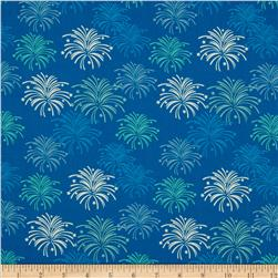 Riley Blake Star Spangled Stripes Fireworks Blue