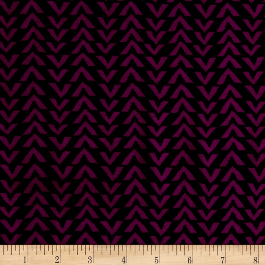 Triangle Stripes Rayon Challis Black/Boysenberry Fabric