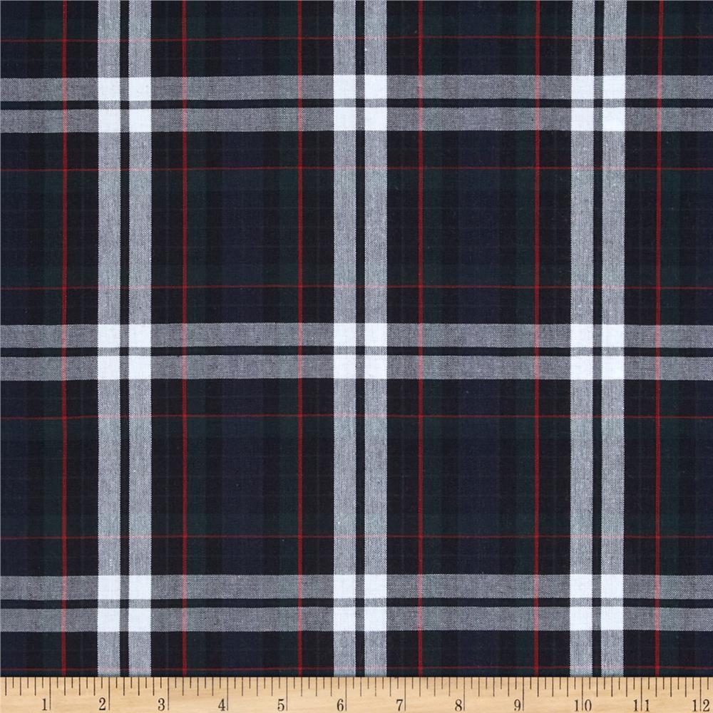 poly cotton uniform plaid red green white discount designer fabric. Black Bedroom Furniture Sets. Home Design Ideas