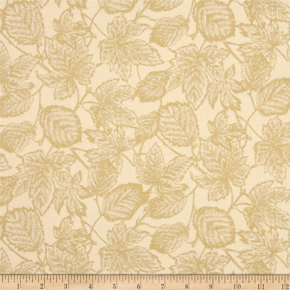 Moda Autumn Elegance Metallic Leaves Cream