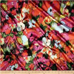 Stretch Satin Floral Green/Pink
