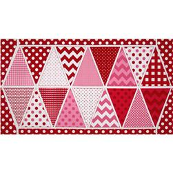 Riley Blake Holiday Banners Panel Valentines Red Fabric