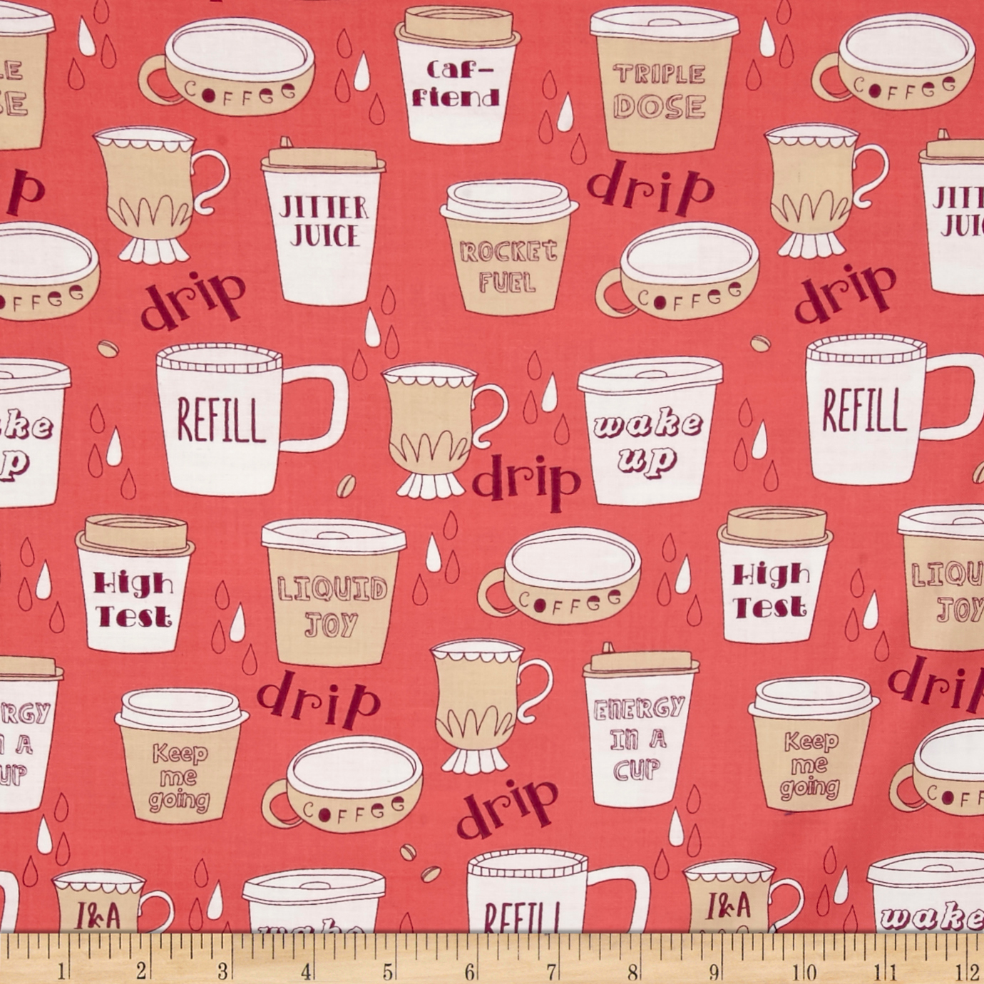 Ink & Arrow Caf-Fiend Coffee Cups Punch Fabric by Quilting Treasures in USA