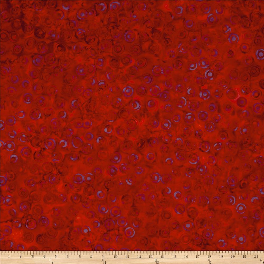 Island Batik Lavish Circles Red/Orng/Purple