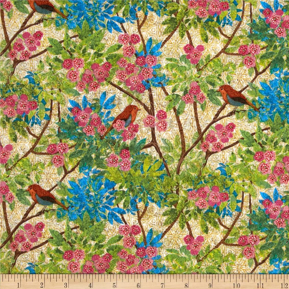 Prism Garden Bird Branches Tan