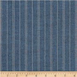 Kaufman Indikon 4.7 Oz Cotton Chambray Hash Stripe Blue