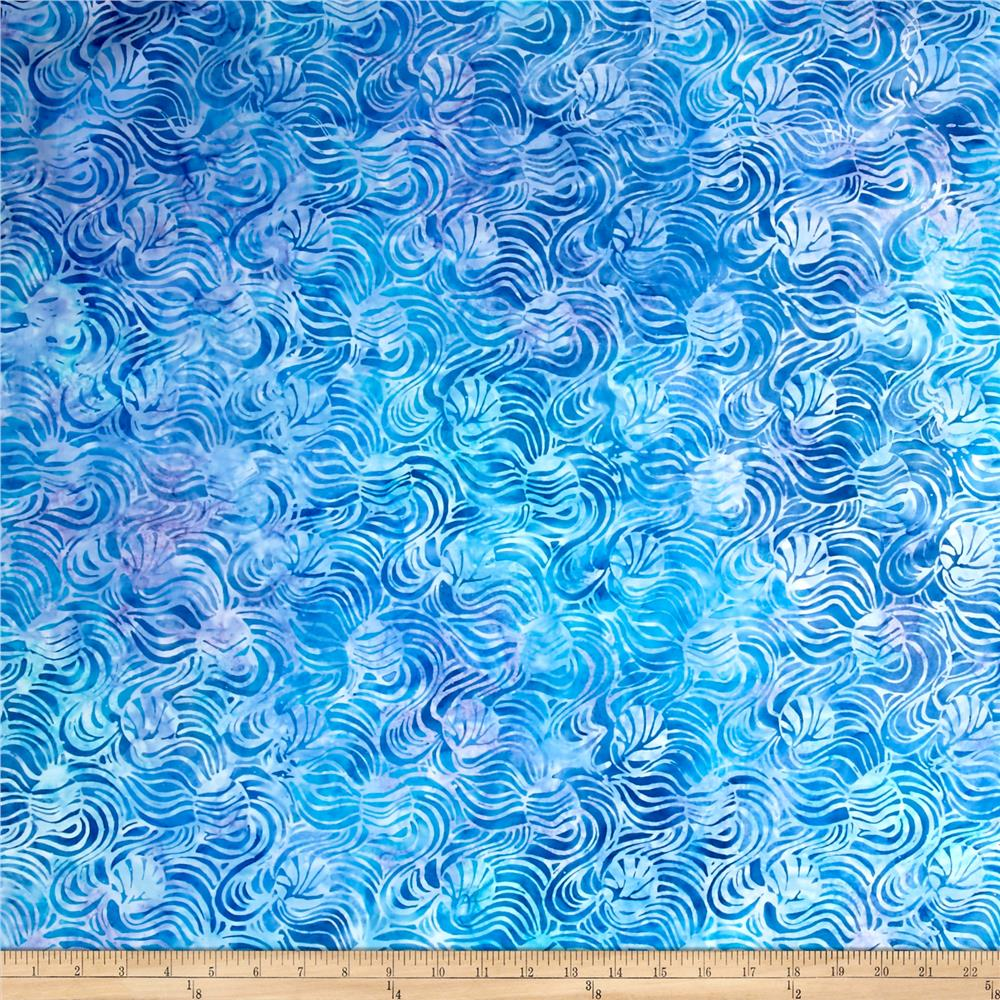 "Timeless Treasures 106"" Batik Waves Ocean"