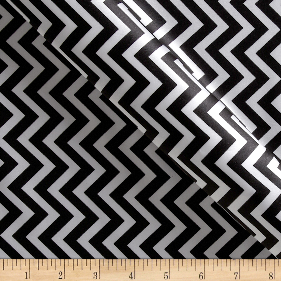 Charmeuse Satin Chevron Black/Snow Fabric