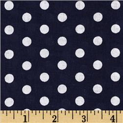 Forever Small Polka Dot Navy Fabric