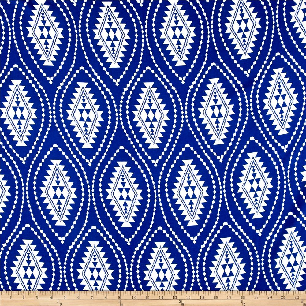 Rayon Challis Ethnic Royal