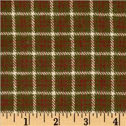 Primo Plaids V Flannel Square Plaid Green Fabric