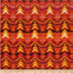 Stretch Jersey Knit Chevron Illusion  Orange/Pink