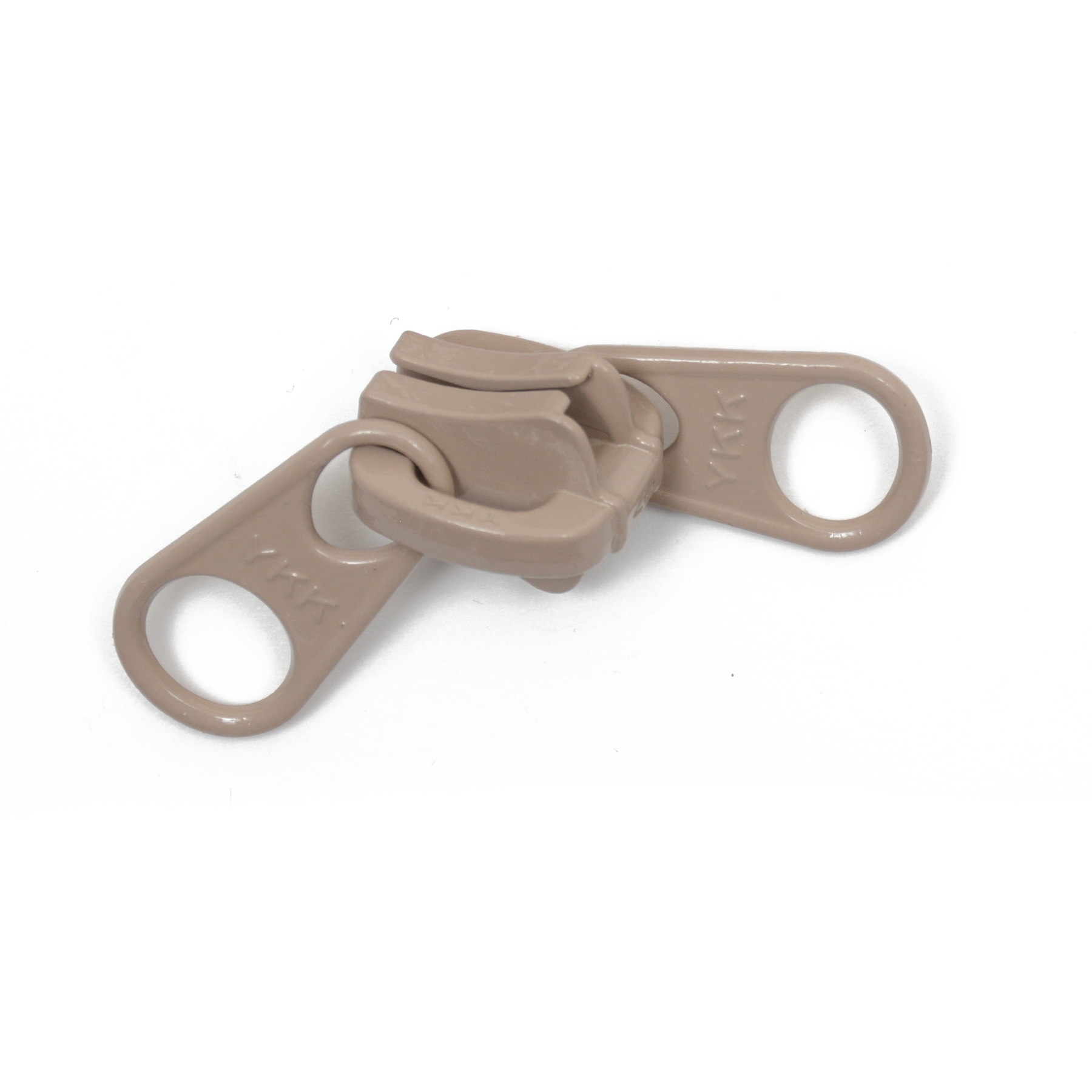 #10 YKK Vislon Slider Non-Locking  2-Tab - Beige. 2 tab non-locking slider used with #10 beige Vislon zipper chain. This product is sold as a 25 pack.