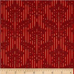 Christmas Peace Metallic Damask Red