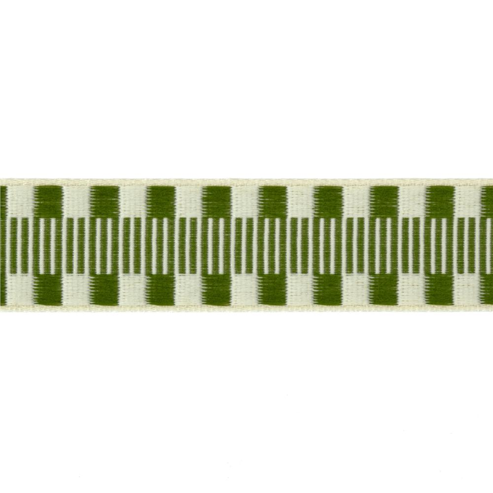 1'' Jacquard Ribbon Check Stripes Olive/Ivory