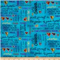 Laurel Burch Fabulous Felines Text Aqua Metallic