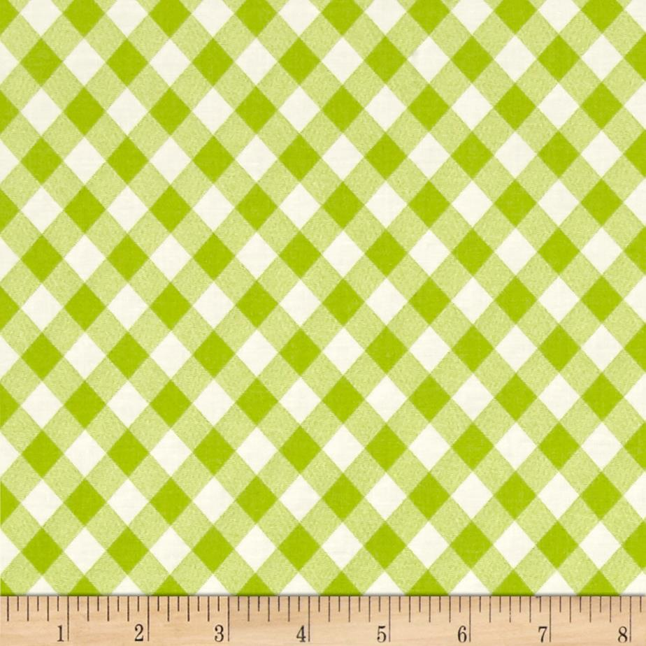 Moda basics vintage picnic gingham green discount for Green fabric
