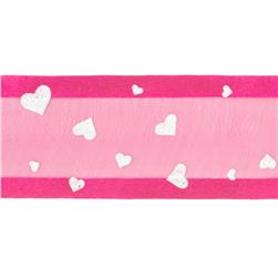 1 1/2'' Sheer Satin Hearts Ribbon Fuchsia/White