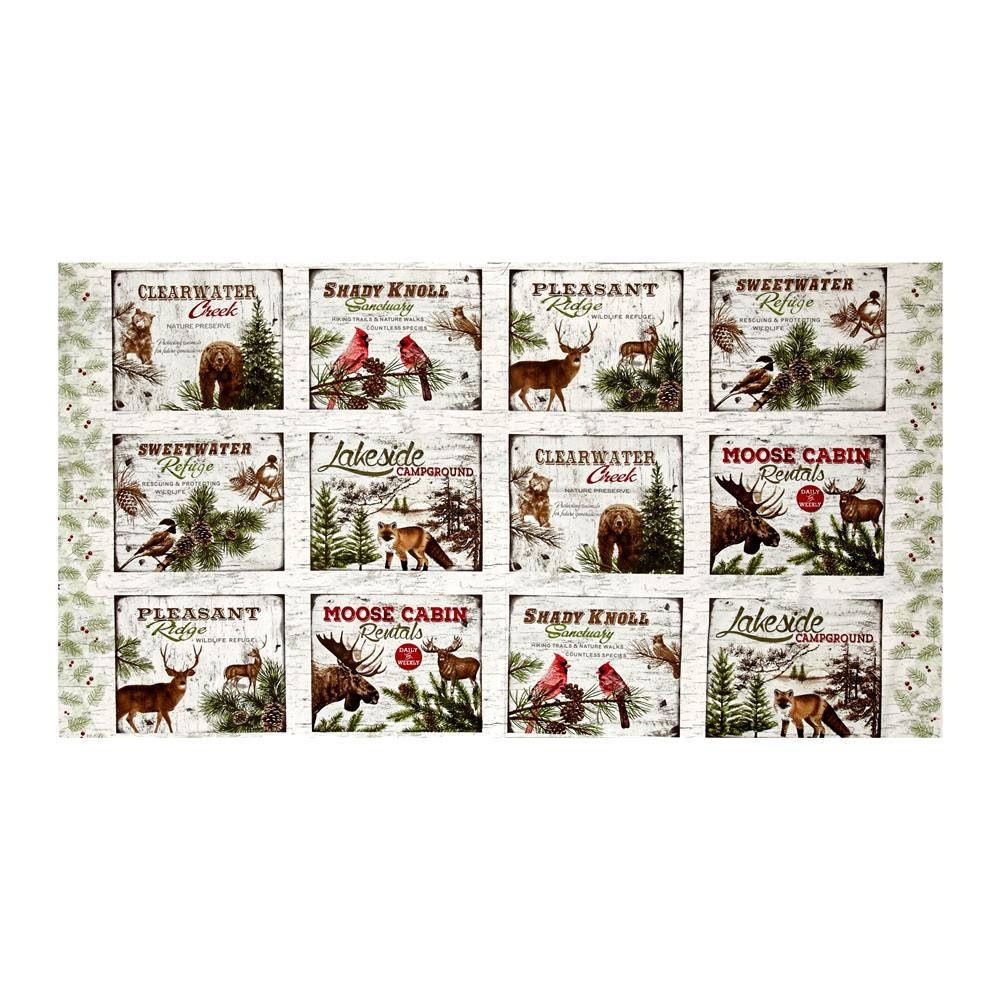 "Moose Lodge Animal Squares 23"" Panel Multi"