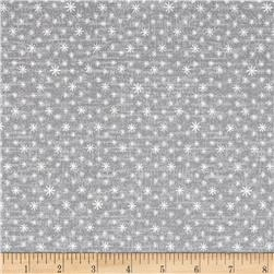 Icy Winter Silver Metallic Tiny Snowflake On Texture Gray