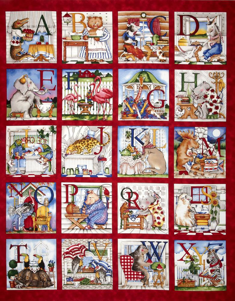 Hungry Animal Alphabet Panel Red