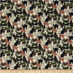 Cat Silouettes Hunter Green Fabric