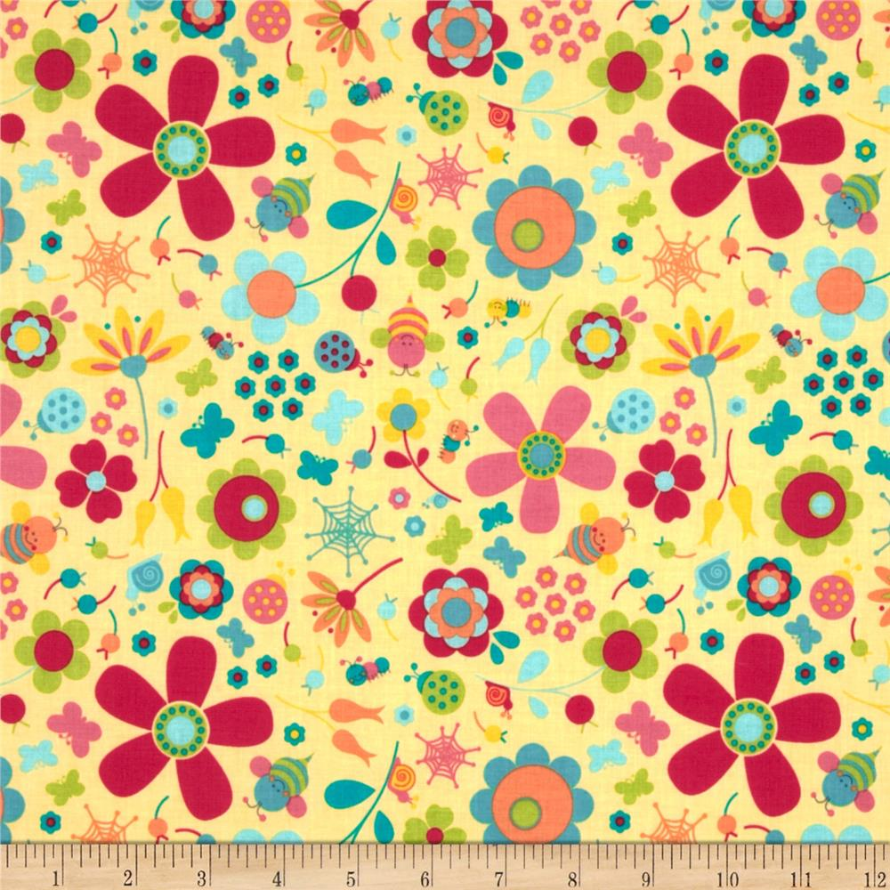 Riley Blake Snug as a Bug Large Floral Yellow